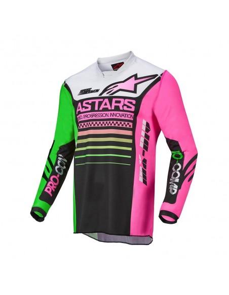 Alpinestars Racer Compass 022 - Maglia - Blk/Grn/Neon Pink